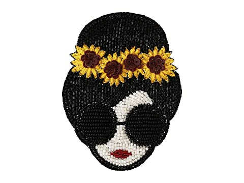 Alice + Olivia Stace Face with Sunflowers Beaded Brooch