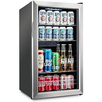 Ivation 126 Can Beverage Refrigerator   Freestanding Ultra Cool Mini Drink Fridge   Beer, Cocktails, Soda, Juice Cooler for Home & Office   Reversible Glass Door & Adjustable Shelving, Stainless Steel