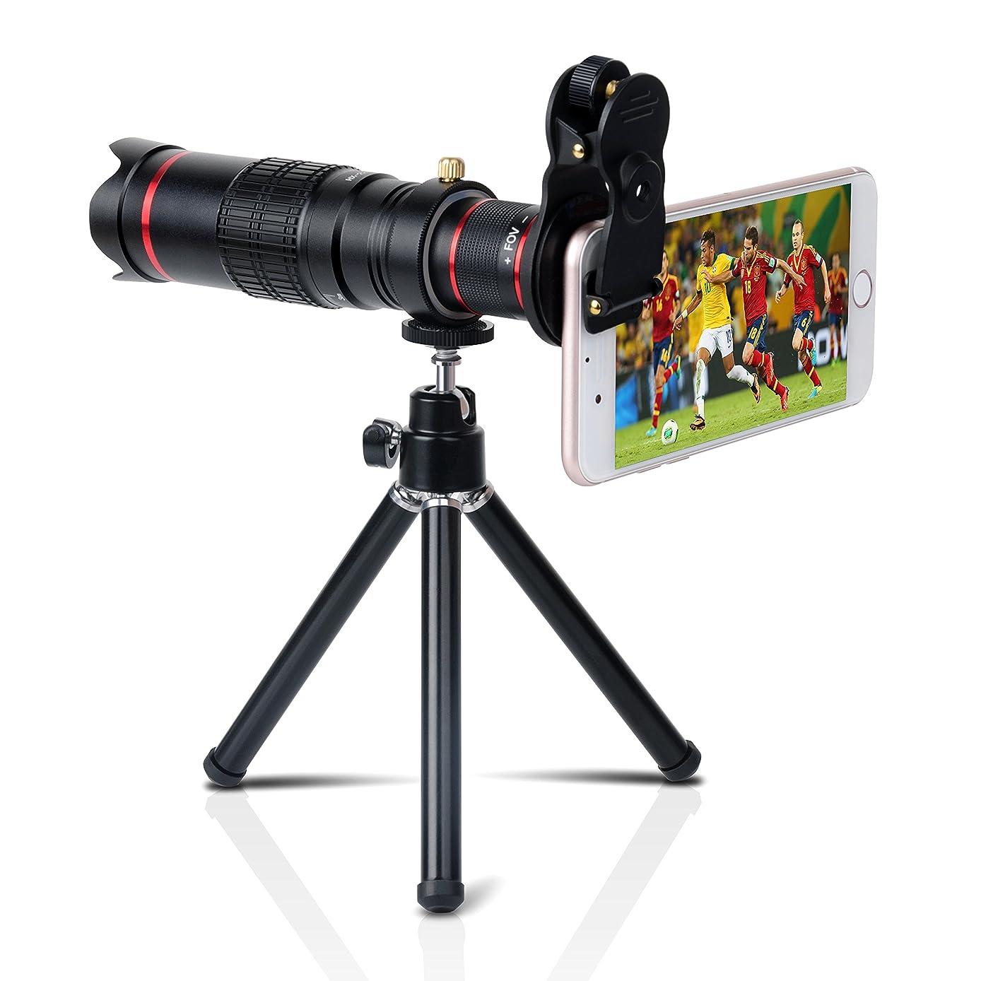 マルクス主義包括的ナチュラルYarrashop 22倍 HDスマホ望遠レンズ 高画質クリップ式 iphone用 android用 単眼鏡 三脚付き ブラック 安心保証付き
