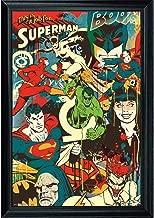 DC Comic Superhero Collage Wall Art Decor Framed Print | 24x36 Premium (Canvas/Painting Like) Textured Poster | Batman, Superman, Flash & Villains Comics | Memorabilia Gifts for Guys & Girls Bedroom