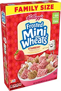 (Discontinued Version) Kellogg's Breakfast Cereal, Frosted Mini-Wheats, Strawberry, Low Fat, Excellent Source of Fiber, Family Size, 21 oz Box(Pack of 4)