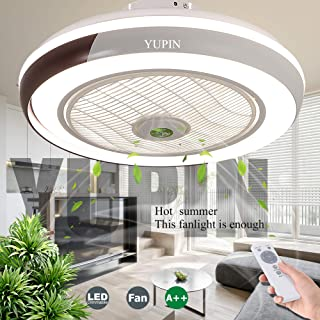 Ventiladores De Techo Ventilador Invisible Luz De Techo LED Con Iluminación 68W Control Remoto Regulable Ultra Silencioso Can Timing Fan Chandelier Sala De Estar Dormitorio Lámpara De Ventilador,Negro