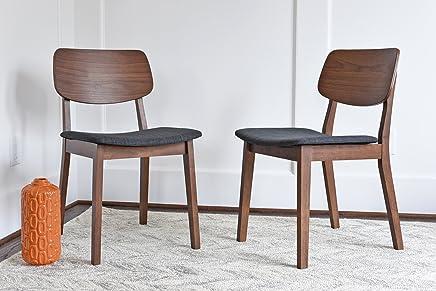 EDLOE FINCH - Mid Century Modern Dining Chairs Set of 2 - Upholstered Fabric Seat - MidCentury Walnut Wood - Dark Grey