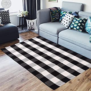ABSLIMUS Black White Plaid Porch Rugs/Door Mat, Pure Cotton Threads Together in Crisscross, Hand Weaving Checkered Carpet Kitchen/Entry Way/Bedroom/Bathroom/Sofa/Laundry Room,