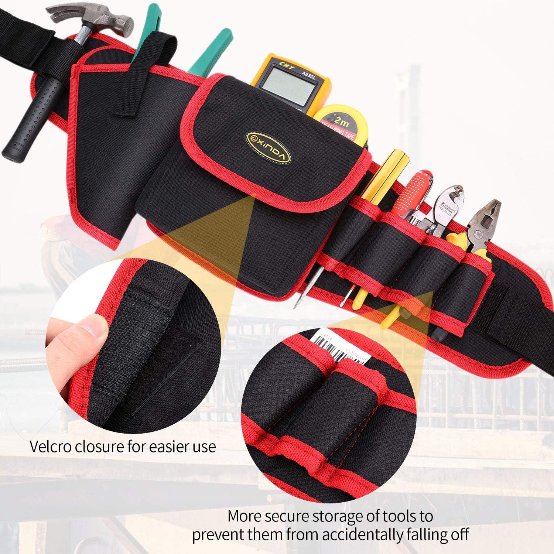 noir et rouge BAIGIO Sac banane /à outils avec porte-marteau pour marteaux et accessoires
