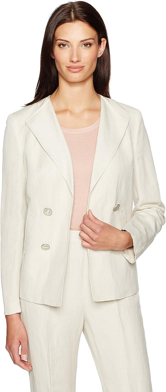 Kasper Womens Double Breasted Linen Jacket Jacket