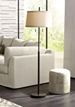 Nayla Modern Floor Lamp Bronze Slender Column Off White Fabric Tapered Drum Shade for Living Room Bedroom - Possini Euro Design