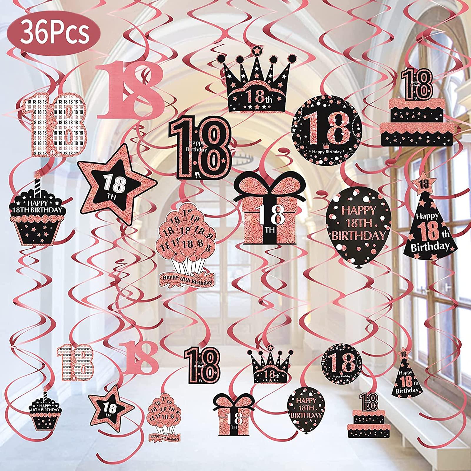 36Pcs 18th Birthday Hanging Swirls Decorations for Girls, Happy 18 Year Old Birthday Swirls Supplies, Rose Gold Eighteen Birthday Party Hanging Swirl Decor