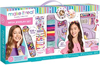 Make It Real - Mega Jewelry Set. DIY Tween Girls Jewelry Making Kit. Arts and Crafts Kit Guides Kids to Design and Create Beautiful Bracelets, Necklaces, and Headbands