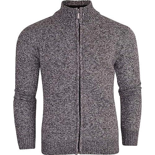 ffafa40e2ece Mens Zip up Cardigan Jumper Fleece Lined Sweater Full Zip Thru Cardi Funnel  Neck