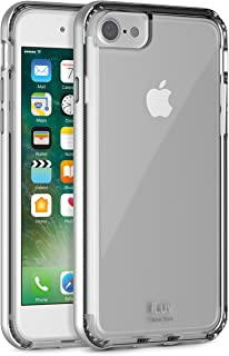 iLuv iPhone 8/iPhone 7 Durable Dual Layer Protective Case with Metallic Polycarbonate Frame, Shock Absorbing Patterned TPU Back, Raised Lip On Edge, Responsive Button Cover, and Elegant Design(Silver)