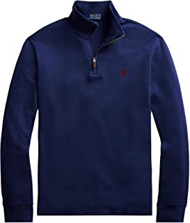 Men Half Zip French Rib Cotton Sweater (L, CruiseNavy)