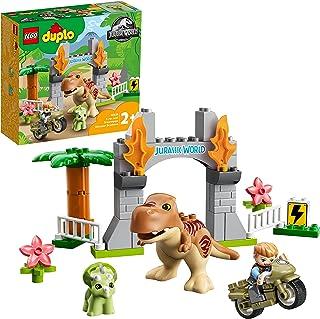 LEGO 10939 DUPLO Jurassic World T. rex en Triceratops Dinosaurus Ontsnapping Set, Dino Peuter Speelgoed, Kinderen van 2 jaar