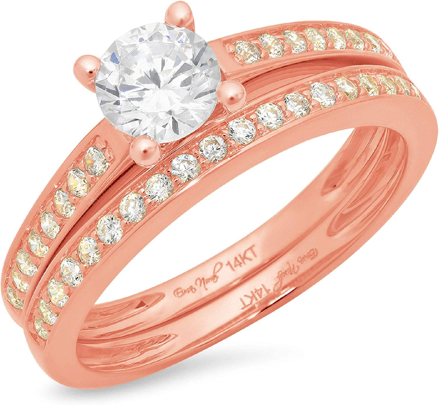 1.14ct Round Cut Pave Solitaire with Accent VVS1 Ideal White Clear Simulated Diamond CZ Engagement Promise Designer Anniversary Wedding Bridal ring band set 14k Pink Rose Gold