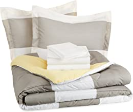 AmazonBasics 7-Piece Bed-In-A-Bag Comforter Bedding Set - Full or Queen, Reversible Grey Stripe, Microfiber, Ultra-Soft