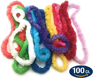 Oojami Plastic Lei Assortment (100 Piece Pack) Colorful Fun Vibrant Flower Lei Necklaces - 100 pc Assortment Pack Perfect for Hawaiian Themed Parties