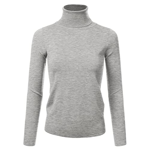 1ac65476943dd0 JJ Perfection Women's Stretch Knit Turtle Neck Long Sleeve Pullover Sweater