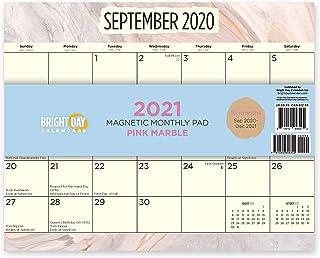 Bright Day Calendars 2021磁気冷蔵庫カレンダー壁のカレンダーパッド:明るい日、16ヶ月8 x 10インチ ピンク大理石