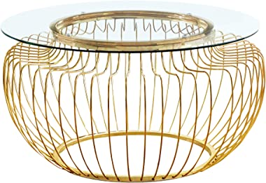 """Monarch Specialties Round Cocktail Accent Metal Curved Wire Base for Living Room Coffee Table, 36"""", Clear"""
