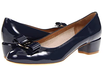 Salvatore Ferragamo Vara Bow Pump (Oxford Blue Patent) Women
