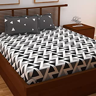 Story@Home 120 TC 100% Cotton Candy Gold Collection 1 Double Bedsheet and 2 Pillow Cover - Geometric, Grey