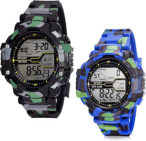 Digital Army Sports Watch Combo for Mens and Boys Multicolored Dial Black Blue Colored Strap Pack of 2 10 yrs