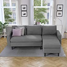 Esright Sectional Convertible Sofa Couch for Living Room, L-Shape Gray Couch with Chaise, 3 Piece Small Couch for Small Sp...
