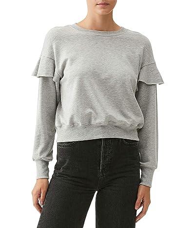 Michael Stars Kacey Crop Sweatshirt with Ruffle in Brushed Baby Terry Women