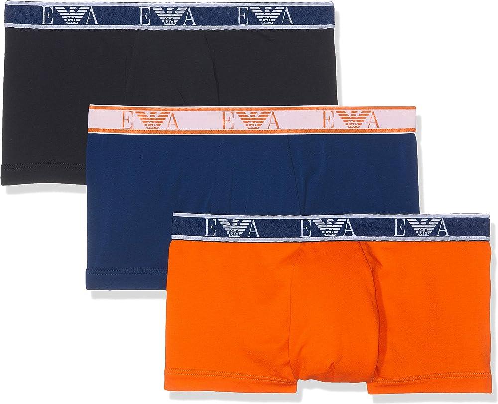 Emporio armani, mutandine, boxer per uomo, 95% cotone, 5% elastan, 3 paia 11670D
