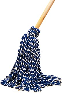 American Market Light Duty Wet Deck Cotton Mop with Solid Wood Handle (8 Oz, Blue)