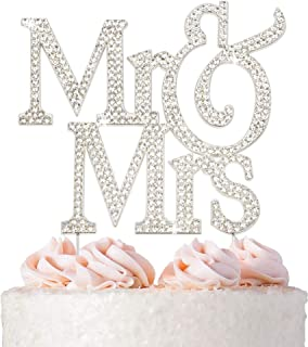 Sponsored Ad - Mr and Mrs Wedding Cake Topper - Premium Silver Metal - Sparkly Wedding or Anniversary Cake Topper - Now Pr...