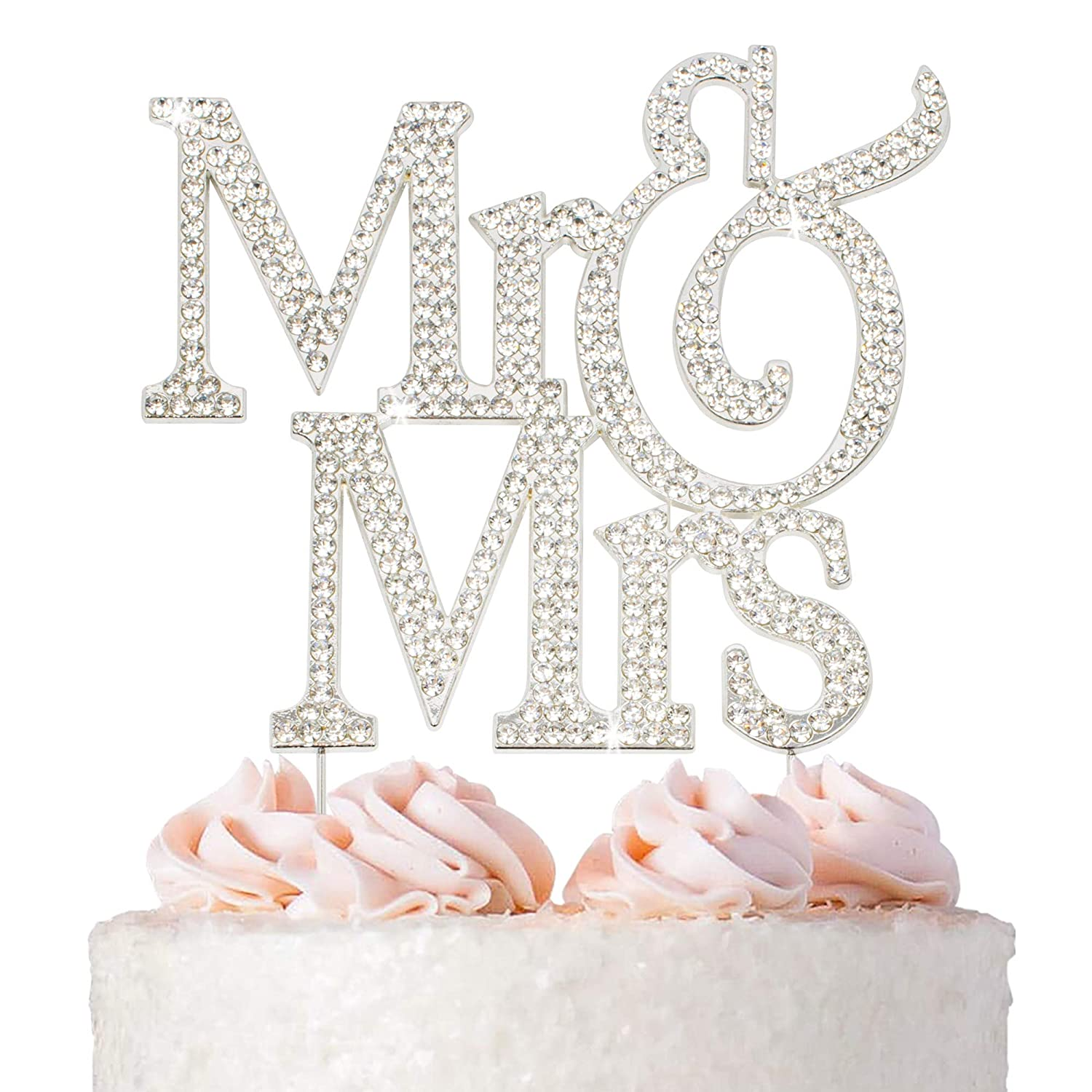 Mr and Max 73% OFF Mrs Wedding Cake Topper - Max 48% OFF Silver Sparkly Metal Premium