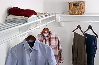 EZ Shelf - DIY Closet Organizer Kit - Expandable to 12.2 ft. of Hanging & Shelf space - White (Renewed)