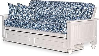 Nirvan Futons Cottage White Futon Frame with Storage Drawers - Queen Size