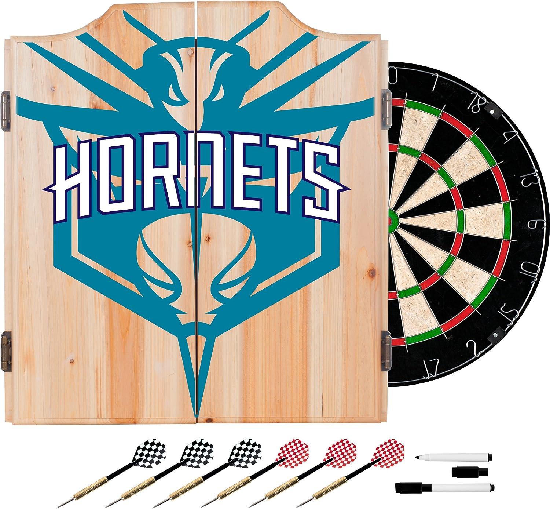 Trademark Gameroom NBA7010CH2 NBA Dart Cabinet Set with Darts & Board  Fade  Charlotte Hornets
