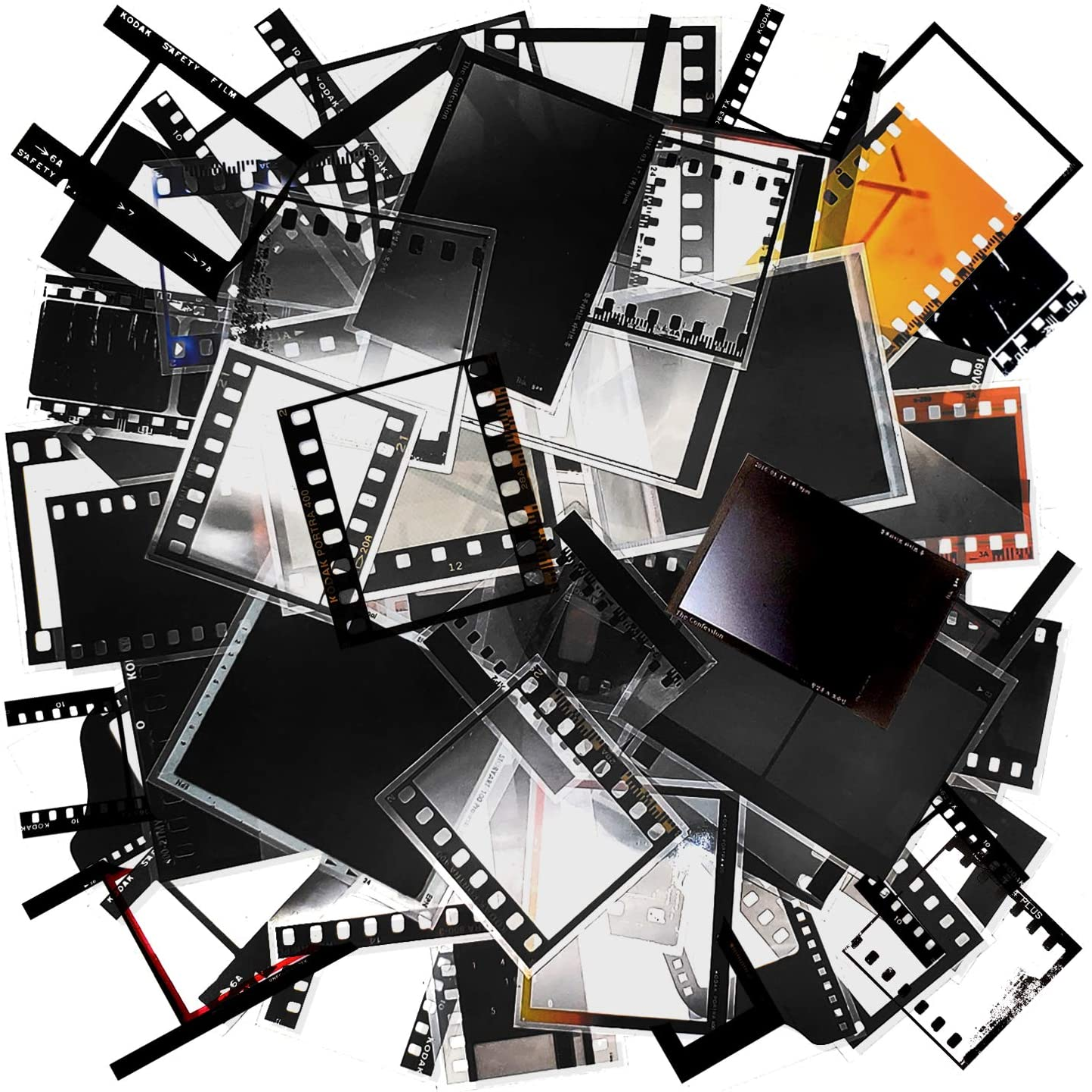 100 Sheets Retro Camera Film Sticker Decorative Filmstrip Scrapbook Sticker Photo Frame Sticker for Cinema Decoration Film Festival Poster DIY Photo Album Scrapbooking Diary Arts and Crafts (Memories)