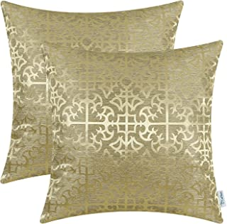 Pack of 2 CaliTime Throw Pillow Covers Cases for Couch Sofa bedandbath Decor Vintage Shining & Dull Contrast Cross Flowers...