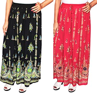 Women's Indian Long Skirts Sequins Ankle Length Rayon India Clothing