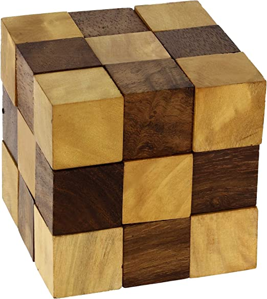 Fashion Adult Puzzle Toy SnakeCube Wooden Brain Teaser Take Out the Red Ball.hc