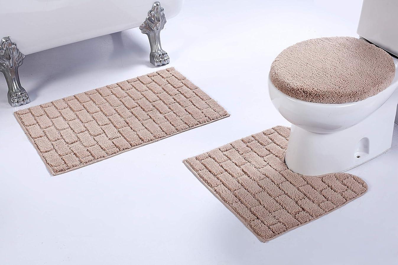 Fancy Linen 3pc Non-Slip Bath Mat Set with Brick Pattern Solid Beige Bathroom U-Shaped Contour Rug, Mat and Toilet Lid Cover New # Bath 67