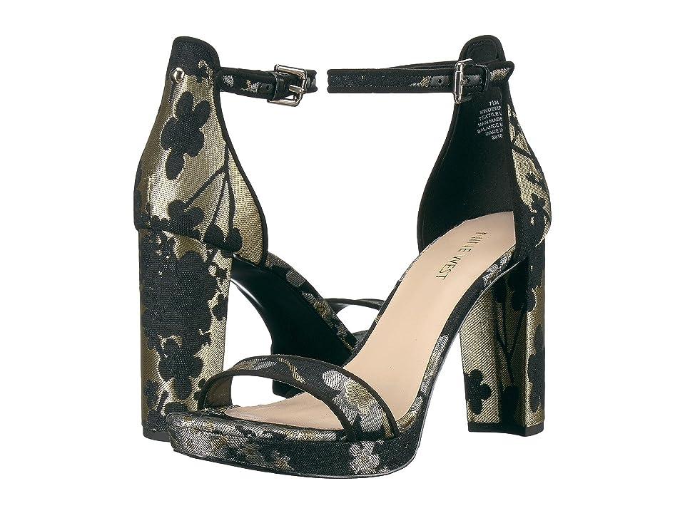 Nine West Dempsey Platform Heel Sandal (Gold Multi Fabric) Women