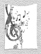 Ambesonne Music Decor Collection, Music with G-Clef Key Instrument Monochrome Creative Rhythmic Ornate Image Pattern, Bedroom Living Room Dorm Wall Hanging Tapestry, Gray White
