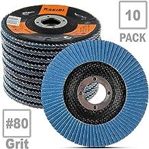 KSEIBI 686036A Zirconia Corundum 4 1/2 Inch Flap Disc Sanding Grinding Wheel (Grit #80, 10Pack)