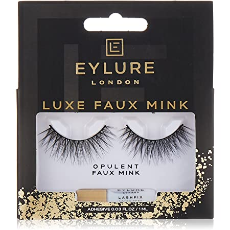 Eylure Faux Mink Eye Lashes, Reusable, Adhesive Included, Baroque, 1 Pair