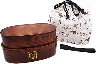 弁当箱 無料な手提袋を送ります 純木製 曲げわっぱ 二段収納型 茶色 手製で作ります
