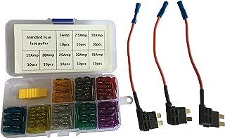 KOLACEN Bil vanlig standard bladtyp säkring blandade kit 81 delar + 3 delar 16 mätare tilläggskrets standardsäkring TAP-ad...