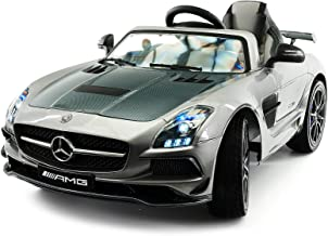 Moderno Kids Mercedes SLS Final Edition Children Ride-On Car with R/C Parental Remote 12V Battery Power LED Wheels Lights + 5 Point Seat Belt + MP4 LCD TV Music Video Player + Rubber Floor Mat (Gray)