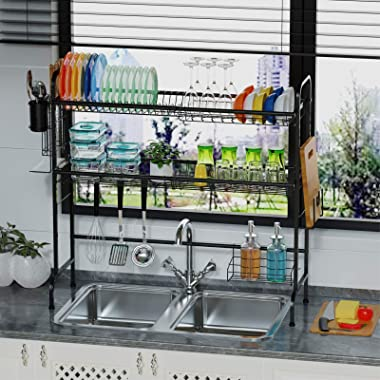 Over the Sink Dish Rack, Packism 2 Tier Premium Dish Drying Rack with Utensil Holder 201 Stainless Steel Dish Drainer, Large