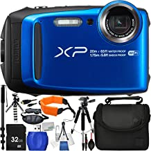 "Fujifilm FinePix XP120 Digital Camera (Blue) – International Version (No Warranty) with 13pc Accessory Bundle – Includes 32GB SD Memory Card + Small Carrying Case + 57"" Tripod + 72"" Monopod + More"