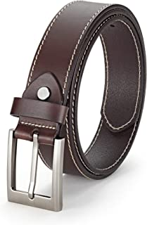 Hagora Men Black Dark Brown Genuine Leather 3 Hole Rows 1-3//4 Wide Buckle Belt